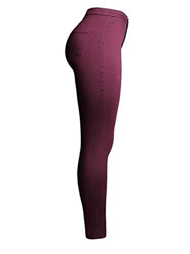 Fashion Poches Jeans Crayon Slim Confortable Taille Vêtements Couleur Saoye Femmes Fit Bouton Pantalon Décontracté Winered Haute Stretch kPZiOXuT