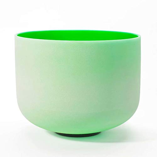 CVNC 12 Inch Green Color F Note Heart Chakra Frosted Quartz Crystal Singing Bowl For Meditation + Free mallet & O-ring Sound Therapy
