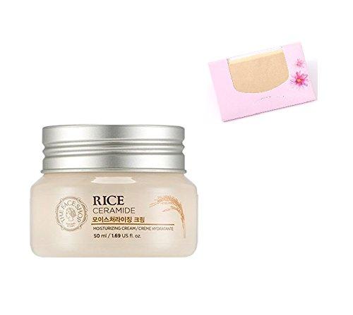 - The Face Shop Rice & Ceramide Moisture Cream 50ml + SoltreeBundle Natural Hemp Paper 50pcs
