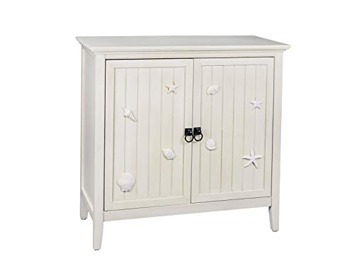 RANDEFURN Handmade Coastal Accent Cabinet,Cabinets with Doors and Shelves,Bathroom Storage Cabinet Free Standing with Double Door and Adjustable Shelf,32 x 14 x 31.5 inches (Cabinets Coastal)