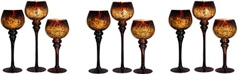 Home Essentials Mercury Chocolate Hurricanes Candle Holders, Set of 3 (Pack of 3)
