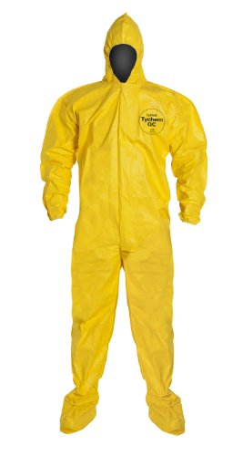 DuPont-Tychem-QC122B-Fabric-Coverall-with-Standard-Fit-Hood-Disposable-Elastic-Cuff-Yellow-Pack-of-12