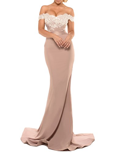 YSMei Women's Long Mermaid Off Shoulder Wedding Party Dresses Lace Formal Prom Gowns Stone 12