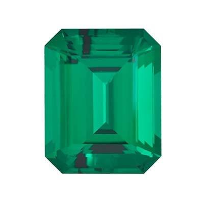 5.56-6.73 Cts of 14x10 mm AAA Emerald-Cut Russian Lab Created Emerald ( 1 pc ) Loose Gemstone