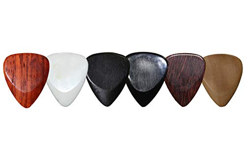 PICKMANN FAT 351 Style Exotic Sampler Guitar Picks Plectrums Value Pack for Acoustic/Electric Guitar Made from Padauk, Bone, Ebony, Horn, Tamarind & Haldu