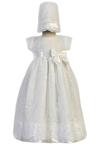 Lito Childrens Wear SWEA Pea & Lilli Kendall Girls Christening Baptism Embroidered Organza Gown with Sequins Dress (12-18m)