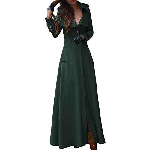 DongDong Clearance❣Women's Winter Long Lapel Slim Button Coat Trench Jacket Parka Overcoat Solid Elegant Outwear (Large, Green)