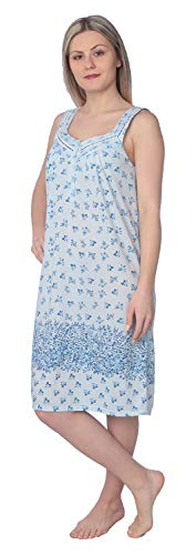 (Beverly Rock Women's Floral Print Sleeveless Ribbon Chest Nightgown JR128 Blue XXL)