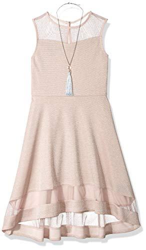 Amy Byer Girls' Big Knit Dress with Illusion Yoke and Hem, Boho Rose, 14