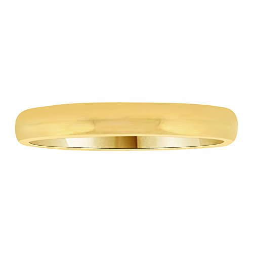 14k Yellow Gold, Classic Plain Polished Band Ring 3mm Wide Size 13 by GiveMeGold