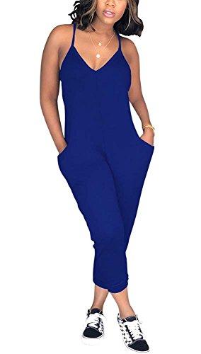 Deloreva Women Casual Jumpsuit Sleeveless Strap V Neck One Piece Romper Harem Pants Playsuit Overalls Blue S