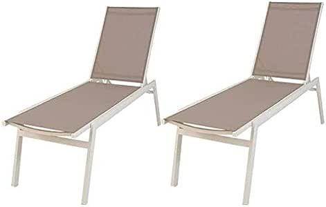 Edenjardi Pack 2 tumbonas Piscina reclinables, Tamaño: 195x55x50 cm, Aluminio Blanco y textilene taupé: Amazon.es: Jardín