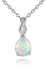 Opal Pendant Necklace for Women Girls October's Birthstone Gemstone Necklace Jewel