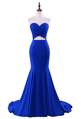 Sweetheart Satin Dress Long Dress Sweep Prom Evening Chupeng Backless Mermaid Royalblue Train dTcR4pn