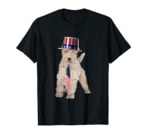Wire Fox Terrier 4th Of July Dog In Top Hat and Tie T-Shirt