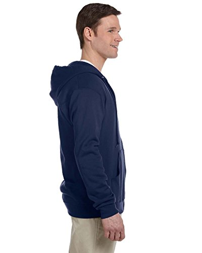 (Jerzees mens 8 oz. 50/50 NuBlend Fleece Full-Zip Hood(993)-J NAVY-XL)