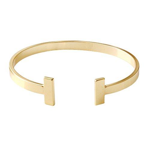 SENFAI Simple Gold Silver Double T Copper Cuff Bracelet