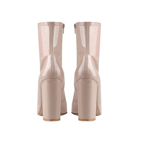 Cheville EUR44UK10 Suede Automne Hiver NVXIE Cuir Chaussures Bottes Sauvage Pointu APRICOT Rugueux Mode Femmes Noir Talon Printemps Élevé 5qqvTZg6