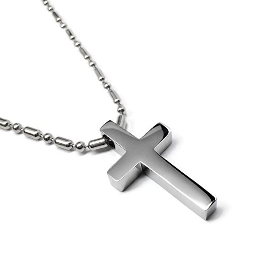 - Loralyn Designs Small Simple Stainless Steel Cross Pendant Necklace (16 Inch Bead Chain)
