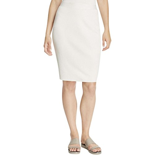 Eileen Fisher Women's Washable Silk Cotton Stretch Ribbed Pull-On Pencil Skirt in Bone (Large)