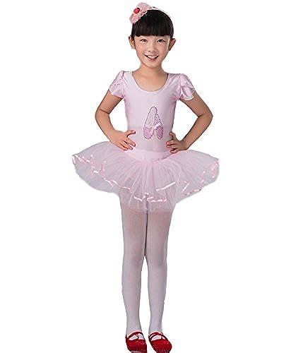 Astage Little Girls Short Sleeve Ballet Tutu Leotard