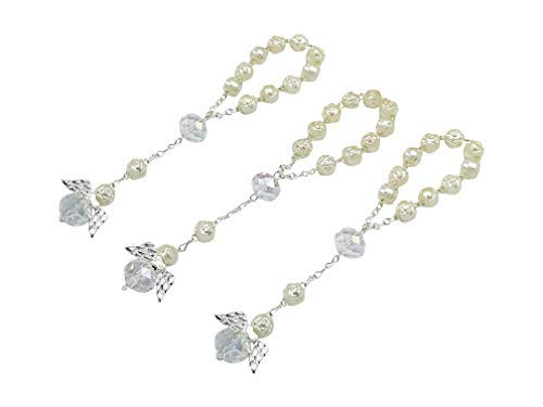 Wedding Favors Handmade - 25 Pc Ivory Color Baptism Favors with Angels Mini Rosaries Silver Plated Acrylic Beads/ Recuerditos De Bautismo/ Christening Favors/ Decenarios/ Decades/ Finger Rosaries by hand made