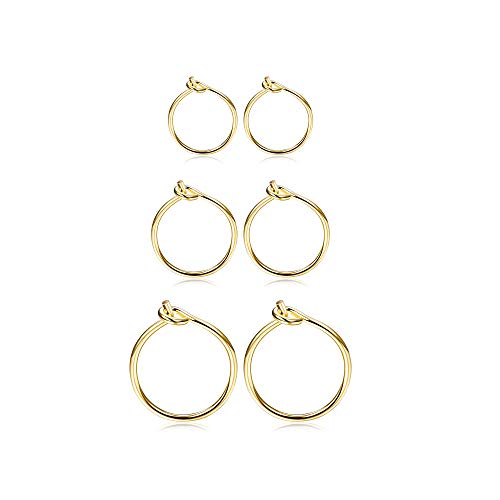 Fiasaso 3 Pairs 925 Sterling Silver Hoop EarringsFiasaso 3 Pairs 925 Sterling Silver Hoop Earrings For Women Girls Small Hoop Earrings Sleeper Earrings Piercing Jewelry Set 6MM 8MM 10MM Gold ()