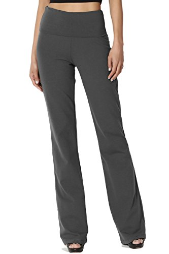 TheMogan Women's Thick Stretch Cotton Foldover Bootleg Yoga Pants Ash Grey 1XL by TheMogan
