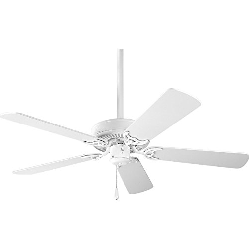 Progress Lighting P2500-30 42-Inch 5 Blade Fan with 3-Speed Reversible Motor with Reversible White or Washed Oak Blades, White