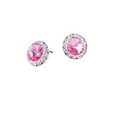 Silver Plating Element Light Rose Rhinestone 15mm Rondelle Circle Round Shape Stud Earring -