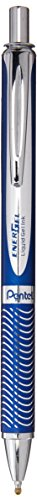 (PENTEL EnerGel Alloy RT Retractable Liquid Gel Pen.7mm, Blue Barrel, Black Ink (BL407CA))