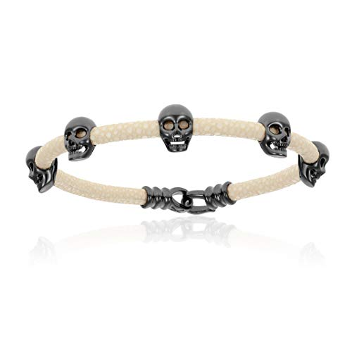 Double Bone Multi Skull Stingray Bracelet. Genuine Leather Bangle with Black PVD Skulls for Men and Women (White, 19)