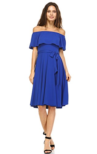 Zoozie LA Women's Off The Shoulder Knee Length Dress Royal Blue Medium (Light Blue Off The Shoulder Dress compare prices)
