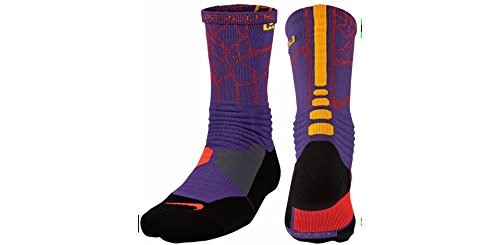 Nike Herren Hyper Elite Cushioned Crew Socken Court Lila (588) / Laser Orange / Pink / Grau / Schwarz