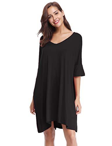 Aibrou Women's V-Neck Short Sleeve T-Shirt Dress Loose Nightshirt Sleepwear Black