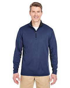 UltraClub Adult 2-Tone Keyhole Mesh 1/4-Zip Pullover L Navy/ Black