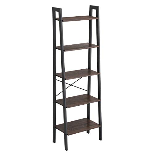 VASAGLE Industrial Ladder Shelf, 5-Tier Bookcase, Storage Unit, with Metal Frame, for Living Room, Kitchen, Rustic Dark Brown, Black ULLS45BF