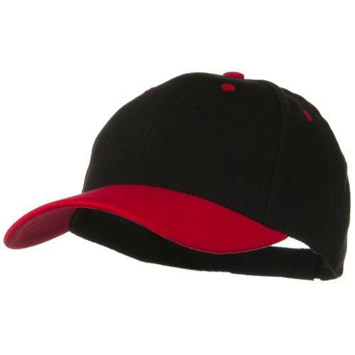 2 Tone Brushed Bull Denim Mid Profile Cap - Red Black OSFM