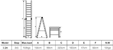 WORHAN 3.2 M escalera telescópica 2-en-1 escalera plegable escalera de ALU escalera telescópica ciones multifuncionales escalera de 320 cm K3.2: Amazon.es: Bricolaje y herramientas