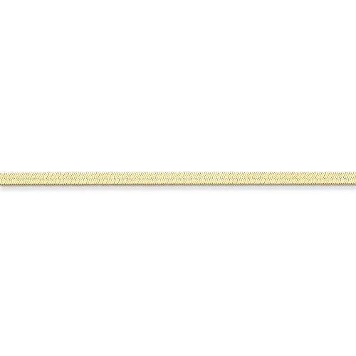 Qg 14k Charm Bracelet (14K Yellow Gold 3.0mm Silky Herringbone Chain Bracelet, 8