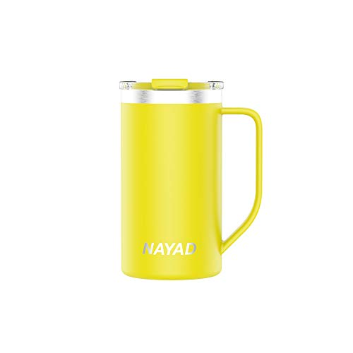 NAYAD Metro Stainless Steel Vacuum Insulated Thermos Coffee Mug, Travel Water Bottle with Lid for Iced Cold/Hot Drinks (Neon Yellow, 20 oz)