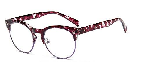 Embryform Tendance starlette monture de lunettes semi-cercl¡§?es hommes et les femmes r¡§?tro ronde 9596 miroir simple