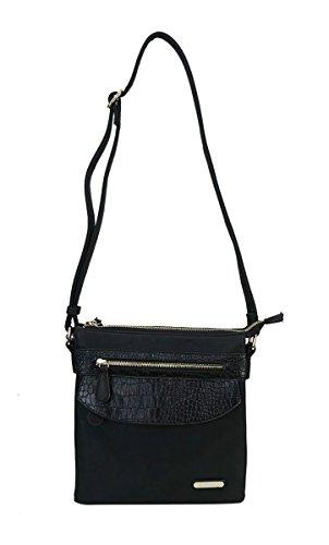 Diophy Signture Logo Crocodile Texture Trims Triple Zipper Gold Hardware Cross Body Messenger Handbag Purse (Black)