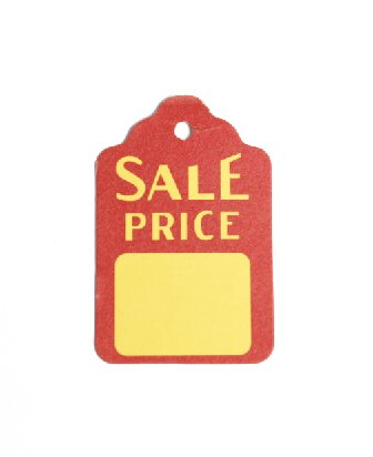 """1-1/8"""" X 1-3/4""""small Promotional Red/yellow Sale Price Merchandise Tag-1000 Pcs"""
