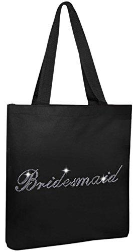 Black Bridesmaid Black Luxury Crystal Bride Tote bag wedding party gift bag (Crystal Tote)