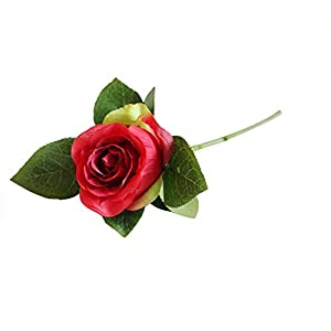 MARJON Flowers1Pcs Artificial Silk Fake Flowers Roses Floral Wedding Bouquet Bridal Decor Home Garden Party Wedding Kitchen Office Decor Indoor Outdoor Decorations (Red) 31