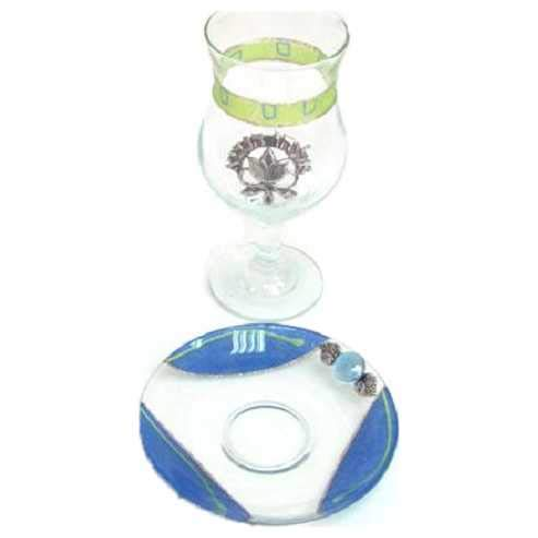 Kiddush Cup & Fountain Set - Lily Art GREEN ELIJAH'S CUP FOR PASSOVER (Bundle)