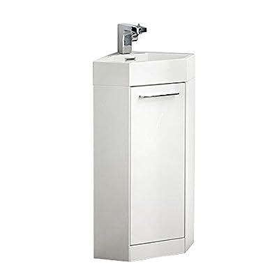 "Fresca FVN5082WH-FFT1030BN Coda Modern Corner Bathroom Vanity, 14"", White - Dimensions of Vanity: 14""W x 14""D x 34""H Materials: MDF Cabinet, Acrylic Countertop/Sink with Overflow Soft Closing Door - bathroom-vanities, bathroom-fixtures-hardware, bathroom - 31nAwe8vFKL. SS400  -"