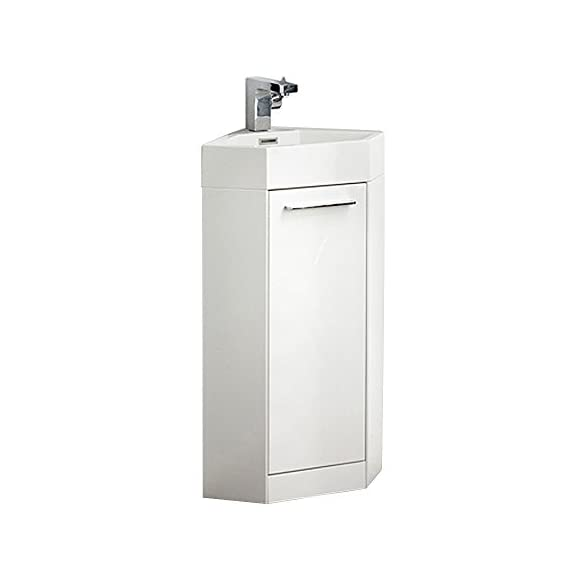 "Fresca FVN5082WH-FFT1030BN Coda Modern Corner Bathroom Vanity, 14"", White - Dimensions of Vanity: 14""W x 14""D x 34""H Materials: MDF Cabinet, Acrylic Countertop/Sink with Overflow Soft Closing Door - bathroom-vanities, bathroom-fixtures-hardware, bathroom - 31nAwe8vFKL. SS570  -"