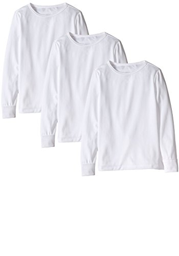 Best Brand Basics Girls Thermal Underwear Base Layer Long Sleeve Crew Top Shirts - 3 Pack (3 Pack White, 10/12)